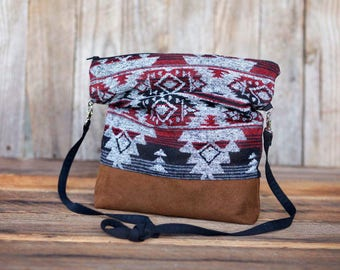 Azetc Slouchy cross body bag with faux leather