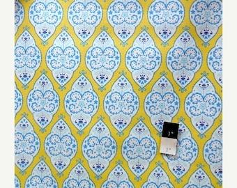 ON SALE Dena Designs LIDF004 Sunshine Medallion Yellow Linen Fabric 1 Yd