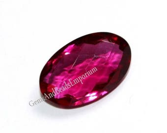 50% Off Sale 1 Pc 24x15 mm AAA Rubellite Pink Quartz Faceted Oval Cut Stone Briolette, Focal Bead / briolette, Focal Pendant