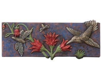 Pollinators Ceramic Art Tile in Terracotta with Blue, White & Coral Glaze