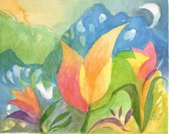 Tulips & Bird Watercolor Abstract 3