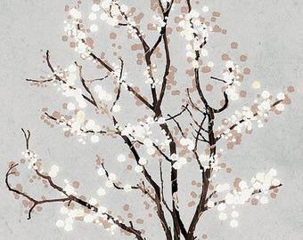 50% Off Summer Sale - Silver Grey Tree Blossoms Art Print - Dancer in the Dark (silver) - 12x18 Print gray