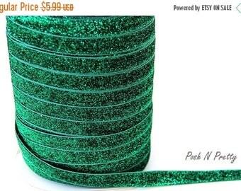 20% OFF EXP 06/30 5/8 Glitter Stretch Velvet Elastic 5 YARDS - No Flake - Christmas Green