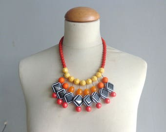 Yellow Red οrange black necklace, red blue bib necklace, colourful chunky necklace, modern tribal necklace, statement yellow black necklace