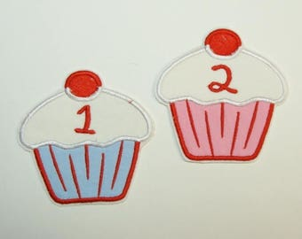 Birthday Cupcake Embroidered Applique