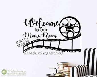 Welcome to Our Movie Room Sit Back Relax Enjoy Decal • Vinyl Lettering • Theatre Room • Wall Art Graphics Lettering Decals Stickers 2004