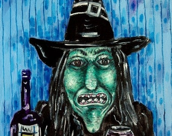 20 % off storewide wicked witch of the east at the wine bar art PRINT poster gift modern folk pop art