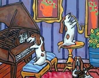 20 % off storewide The Basset Hound Trio Dog Art Tile Coaster GIFT MODERN american JSCHMETZ abstratc folk art jazz