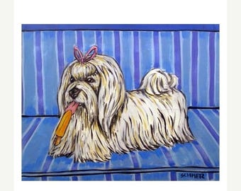 20 % off storewide Maltese with a Popsicle Dog Art Print JSCHMETZ MODERN abstract folk pop art 11x14