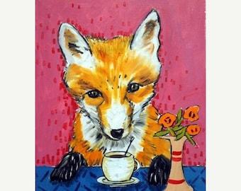 20% off storewide Fox , fox art, fox print, 11x14 print, coffee art, coffee print, wall art, modern folk art