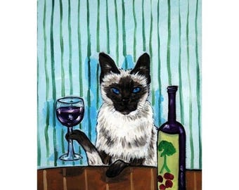 20% off siamese cat wine art animals impressionism gift  signed art print