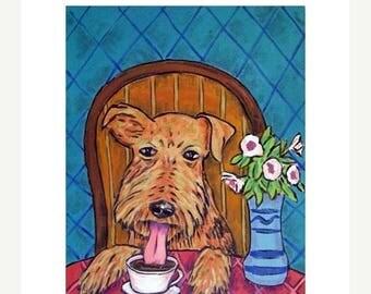 Airedale Terrier at the Coffee Shop Dog art Print  JSCHMETZ modern abstract FOLK pop art american ART