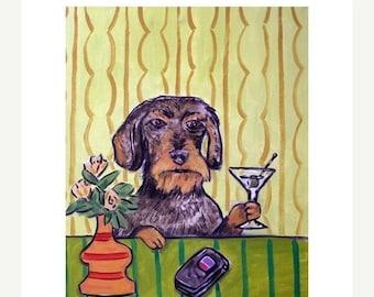 dachshund art - Dachshund ,dachshund art, dachshund print, martini art, martini print , gift, 11x14 print, modern dog art - dachshund gifts