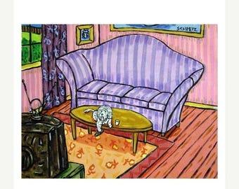 Maltese in the Living Room Watching Television Dog Art Print 11x14 JSCHMETZ modern abstract folk pop art american ART gift