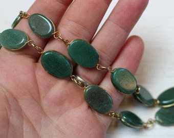 Vintage wire wrapped aventurine necklace
