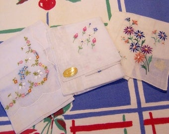 three lovely sweet vintage hankies