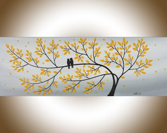 Sale Abstract painting original artwork painting on canvas yellow grey wall art love birds painting owl painting by qiqigallery