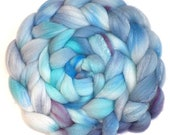 Roving Organic Polwarth and Bombyx Silk Handdyed Combed Top - Ladybird Blue, 5.1 oz.