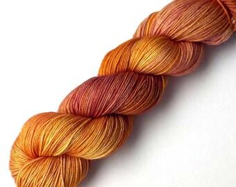 Hand Dyed Yarn Boston Beauty Sock Yarn Merino Silk Cashmere 435 yards, Nectarine