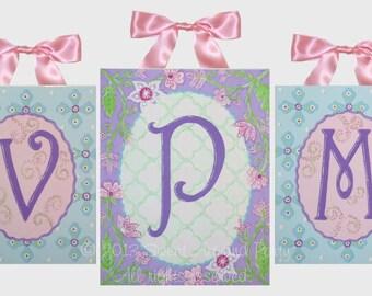 Lavender Pink Aqua blue quatrefoil flower vine personalized mural Custom canvas Monogram wall art Set 3 paintings 16x20 11x14 clover