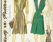 """Vintage Sewing Pattern 1940s Simplicity 4363 Jumper Skirt 32"""" Bust - Free Pattern Grading E-book Included"""