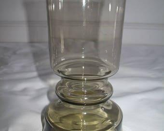 Vintage Brown Hurricane Lamp Shaped Glass Vase