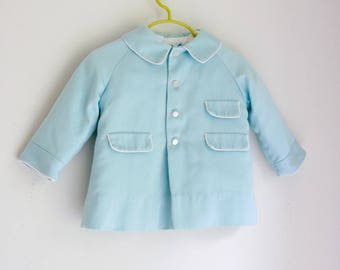 Vintage toddler boys coat baby blue 12 to 18 months Beth Terrell