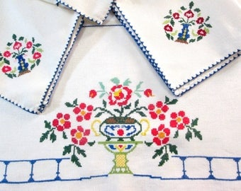 Vintage Linen Tablecloth Set Napkins Tea Cloth Square Table Cloth Asian Cross Stitch Urns Floral Hand Emboidery Embroidered Vintage Linens