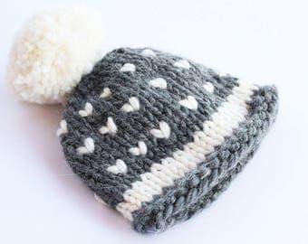 Chunky knit hat, grey, knit beanie, pom pom hat, pom pom beanie, winter hat, knit hat, baby pom pom hat, knit beanie, baby hat, knitted hat