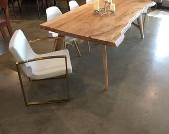 Live edge maple dining table ambrosia with great color mid century modern style with Danish influence