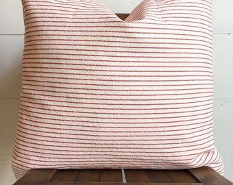 "Soft cream canvas with red pinstripes 20"" pillow cover / farmhouse / cabin / Independence Day !"