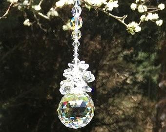 Feng Shui Suncatcher, Swarovski Crystals, Crystal Ball, April Birthday, Window Crystals, Window Prisms, Glass Art, Hanging Ornament, 8916
