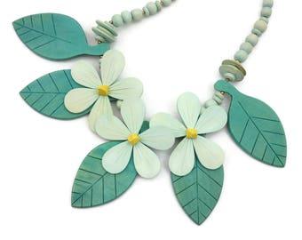 Wood Flower Statement Necklace - Huge Bold Tropical Bib Necklace Soft Green