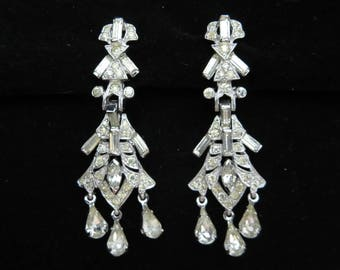Clear Rhinestone Earrings - Clip Earrings Panetta Bridal Jewelry
