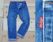 "Vintage Levi's 701 Jeans // Vtg 80s Made in the USA Levi Slim Student Fit Distressed Indigo Button Fly Straight Leg Jeans // 29"" waist"