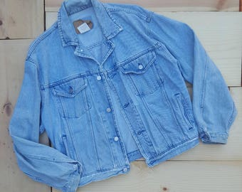 Vintage Denim Jacket  //  Vtg 90s GAP Distressed Faded Fraying Light Wash Denim Jacket