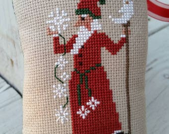 Old World Santa Ornament Cross Stitch Holiday Decor Made to Order