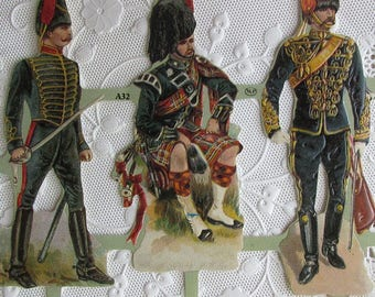 Vintage England Paper Lithograph Die Cut Scraps Victorian Soldiers Out Of Print A-32
