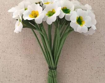 Vintage Flowers Bundle of 24 White Fabric Primrose Millinery Flowers ~ Vintage East Germany ~ Old Store Stock  VAT001-WH