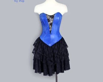 1980's  Firenze Blue Leather & Lace  Strapless Dress - MED