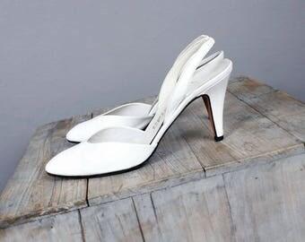 1970's MASERATI Italian Designer Vintage White Leather High Heel Shoes - Stiletto Heels, Womens Vintage Shoes, Sling Back- SIZE 7 aa