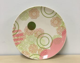 handmade porcelain plate: Dot Dot Doily plate by Meredith Host, pink, avocado, green, red, mid mod, dots, polka dots, stripes, wheel thrown