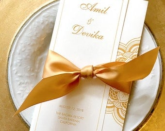 Wedding Program in Faux Gold Ink, Gold Foil Option on Ivory with Ganesh, Lotus Mandala, Satin Ribbon - Hindu Ceremony - Chakra Collection