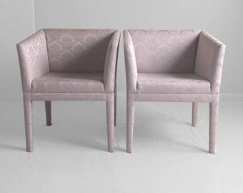2  MODERN light purple satin brocade upholstered parsons chairs