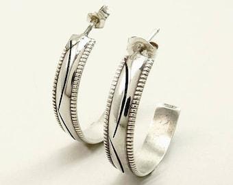 Southwestern Earrings Sterling Silver 925 Half Hoop