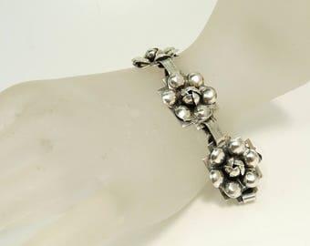 Vintage Raffaele Sterling Bracelet Lotus Flower Link Bracelet