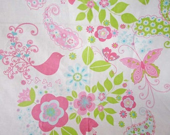 Cotton Fabric Panel for the Nursery Wall, Whimsey Birds and Flowers Design in Pink, Blue, Green and White, Wall Decor, Fabric Supply, Sewing