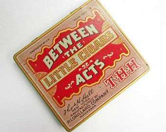 Between the Acts Little Cigars Antique Tin, Stash Box, Card Box, Purse or Pocket Tin Box