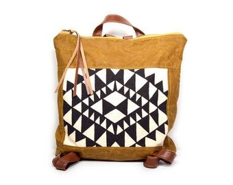 bucket backpack • waxed canvas backpack • geometric print - brown waxed canvas - black and white - gifts under 100 - backpack