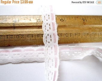 ON SALE- 10 yards vintage white and pink lace trim